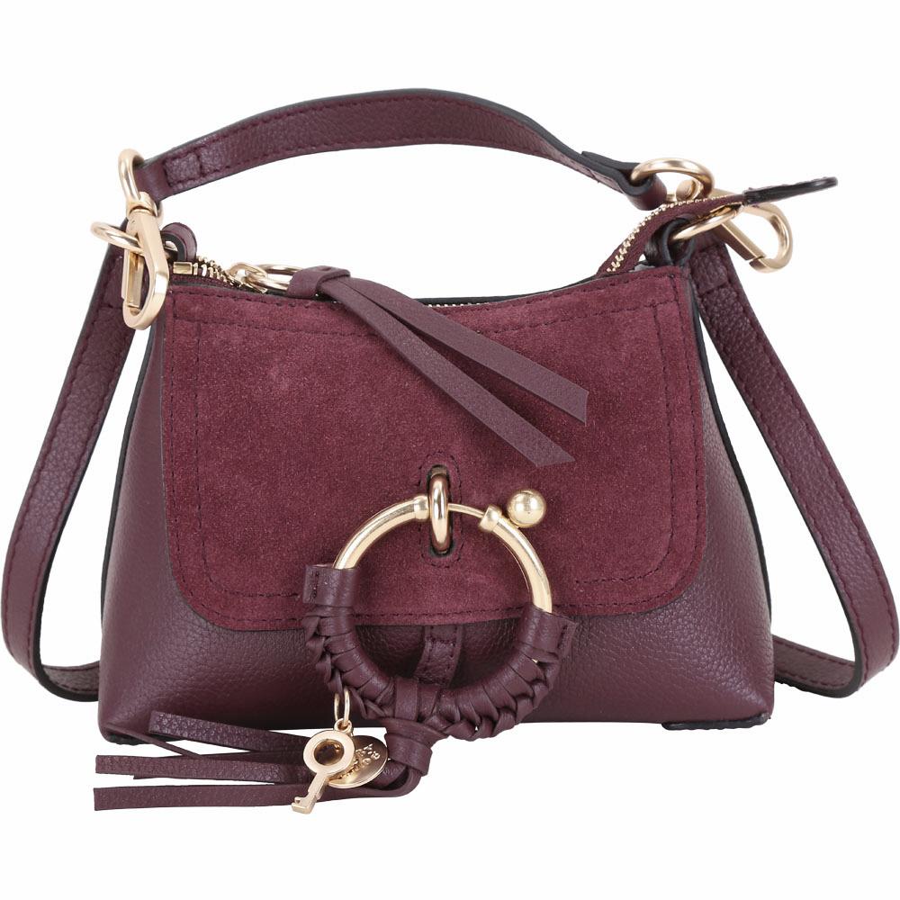 SEE BY CHLOE Joan 迷你款 編織金屬環拼接皮革手提肩背包(紫紅色)
