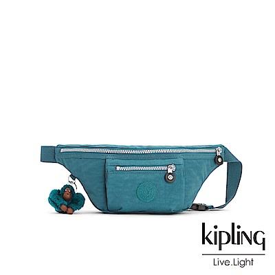 Kipling 靜謐藍綠色素面雙層腰包-FUNDI