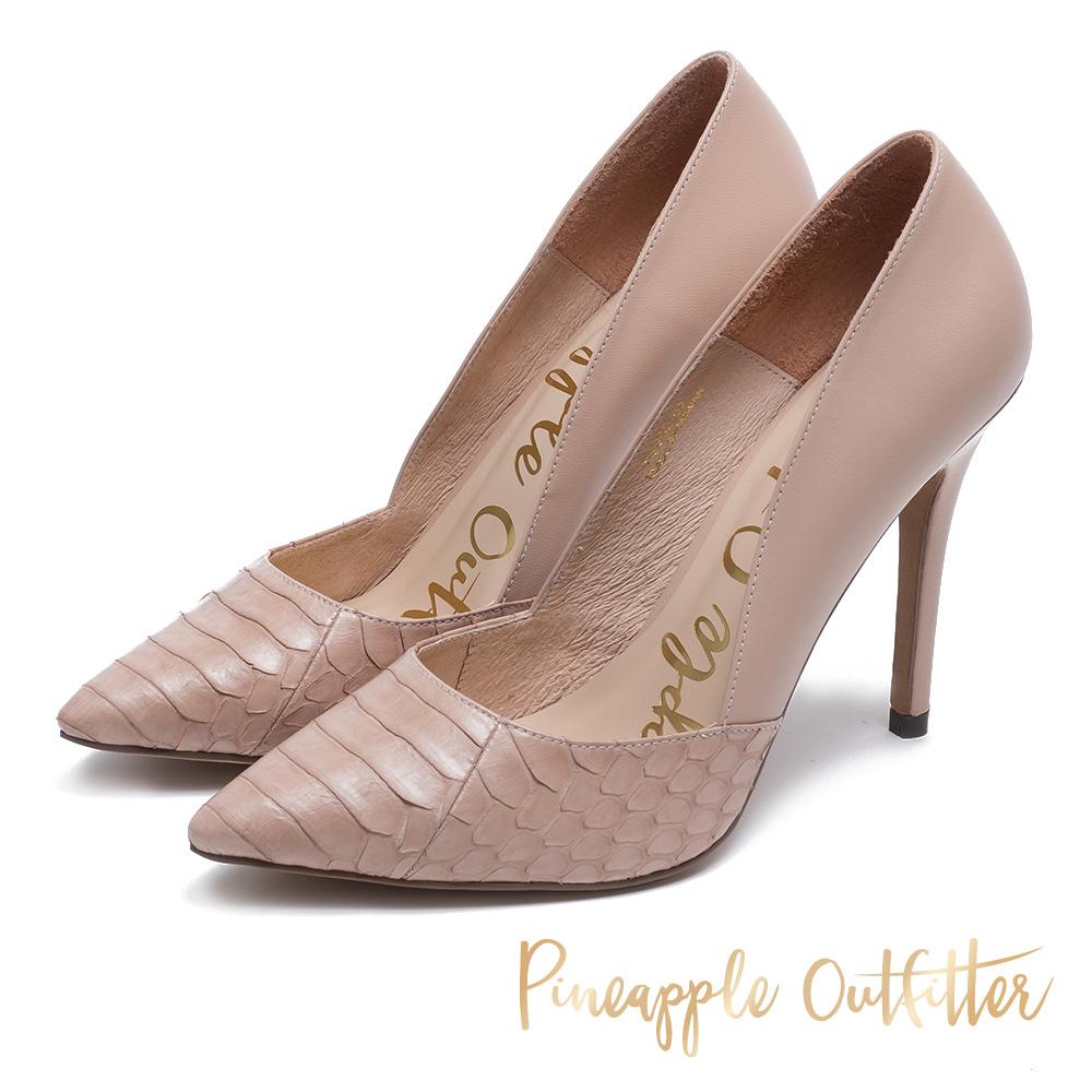 Pineapple Outfitter 究極質感 真皮拼接高跟鞋-粉色