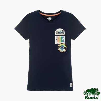 女裝Roots 霓虹貼布短袖T恤-藍色