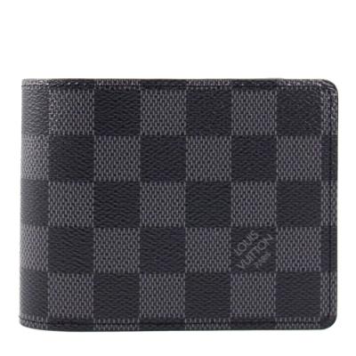 LV 灰棋盤格 短夾/錢包 N62663 MULTIPLE Damier Graphite帆布