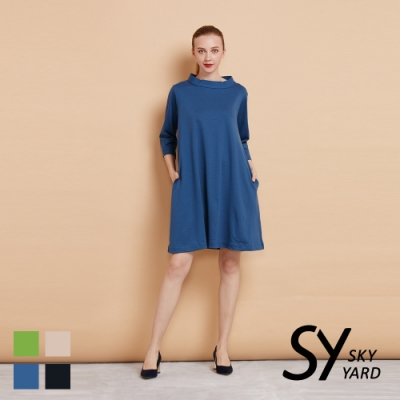 【SKY YARD 天空花園】小立領七分袖彈性連身洋裝-淺藍