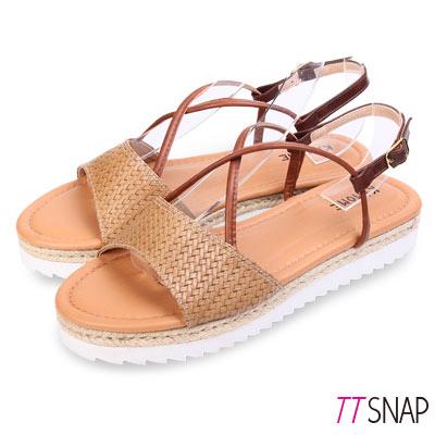 TTSNAP涼鞋-MIT編織厚底細帶交叉羅馬涼鞋 咖