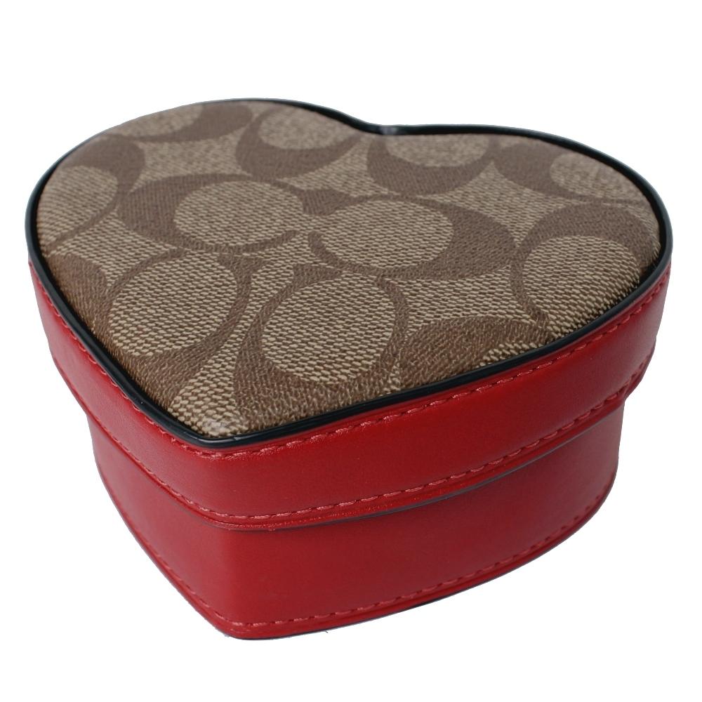 COACH 情人節限定款愛心珠寶盒(卡其X紅)