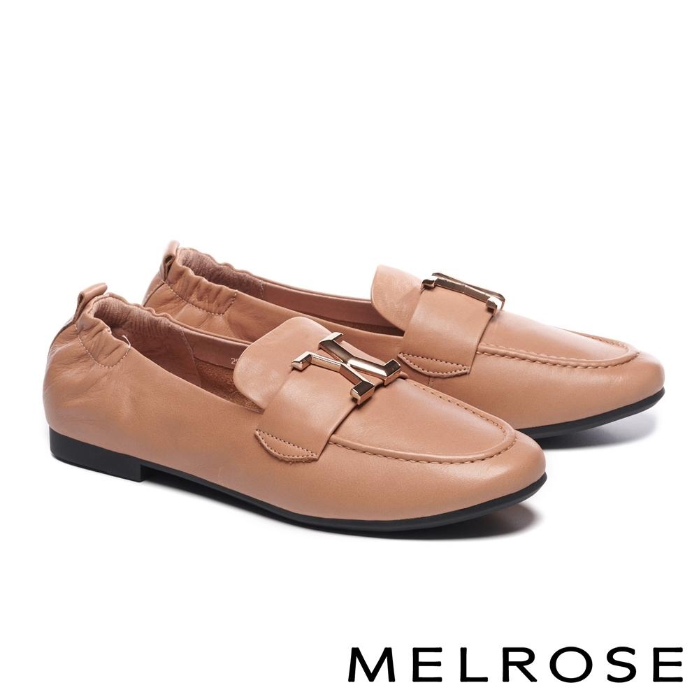 低跟鞋 MELROSE 質感知性金屬飾釦全真皮樂福低跟鞋-杏