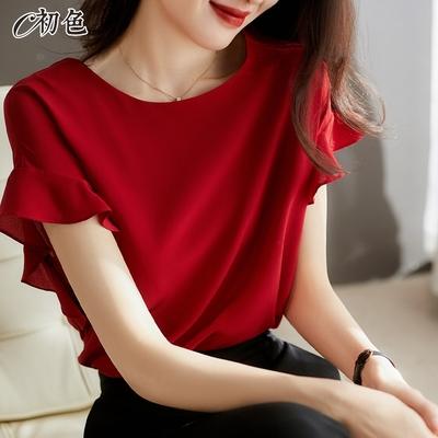 初色  純色荷葉袖雪紡衫-共3色-(M-2XL可選)