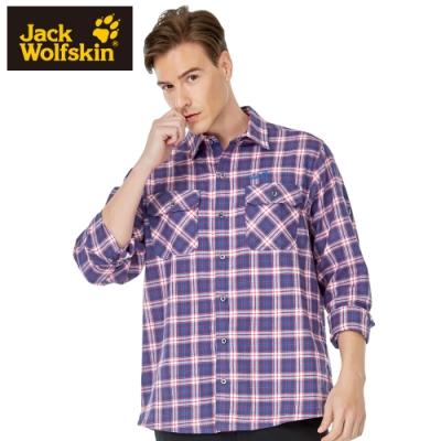 【Jack wolfskin 飛狼】男 經典格紋排汗長袖襯衫 『藍格紋』