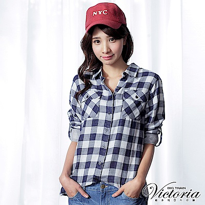 Victoria 雙層格布長袖襯衫-女-藍白格