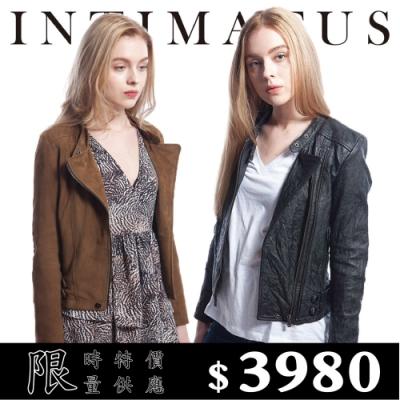 [時時樂限定] INTIMATUS  IW1907 騎士風修身立領短版小羊皮皮衣