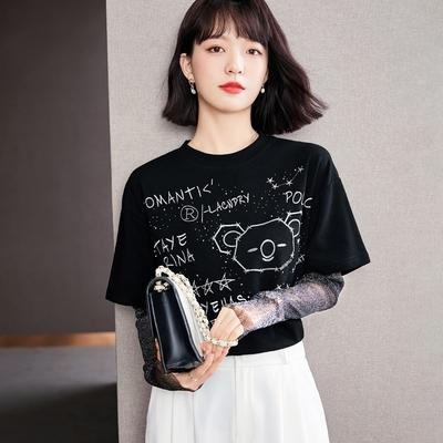 休閒無尾熊燙鑽拼接網紗袖T恤S-2XL(共二色)-沐朵