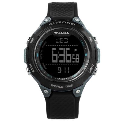 JAGA 捷卡 電子運動 倒數計時 計時碼錶 鬧鈴 防水100米 橡膠手錶-黑色/48mm