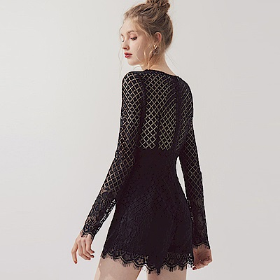 AIR SPACE 交叉領菱形蕾絲連身短褲(黑) @ Y!購物