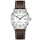 Hamilton漢米爾頓 海軍80小時動力儲存機械錶-白x咖啡/43mm