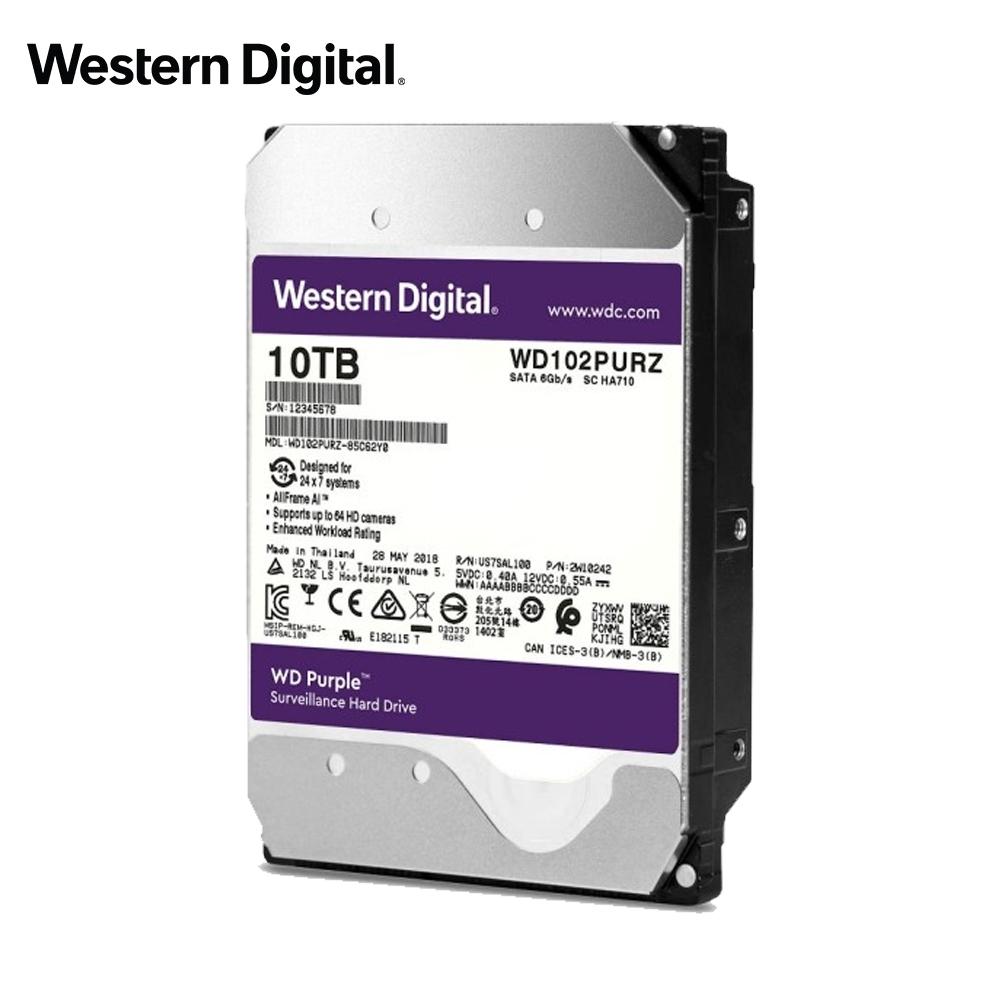 WD 紫標 10TB 3.5吋監控系統硬碟 (WD102PURZ)