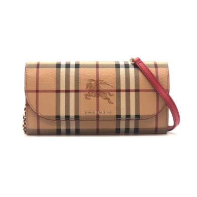 BURBERRY Haymarket 皮革飾邊格紋鏈帶桃紅WOC斜背包