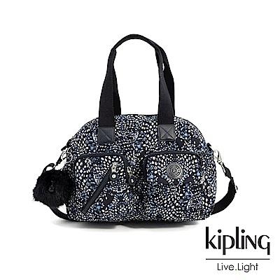 Kipling 奇幻藍羽斑紋多層實用手提側背包-DEFEA UP