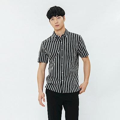 H:CONNECT 韓國品牌 男裝-單口袋短袖襯衫-條紋