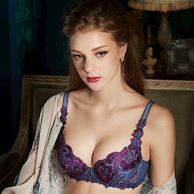 莎露-聚焦鎂光 B-C 罩杯內衣(紫鑽藍)奢華蕾絲-深V包覆