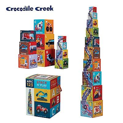 美國Crocodile Creek 幼兒認知套疊學習拼圖-交通數字ABC