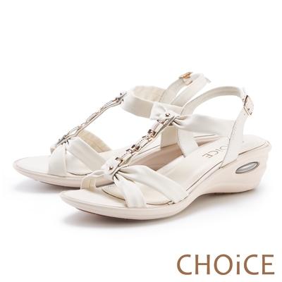 CHOiCE 真皮水鑽串鍊楔型氣墊 女 涼鞋 白色