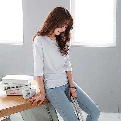 純色後襬綁帶設計七分袖高棉量上衣-OB大尺碼
