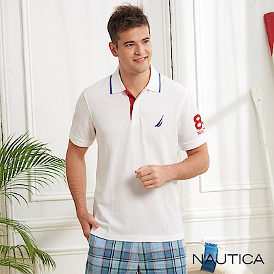 Nautica極簡風格吸濕快乾短袖POLO衫-白色