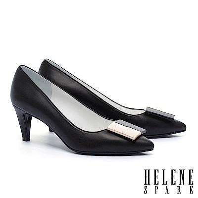 高跟鞋 HELENE SPARK 經典知性撞色方釦羊皮尖頭高跟鞋-黑