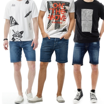 [限搶]【時時樂限定】 Lee 精選男款牛仔短褲 - 多款選