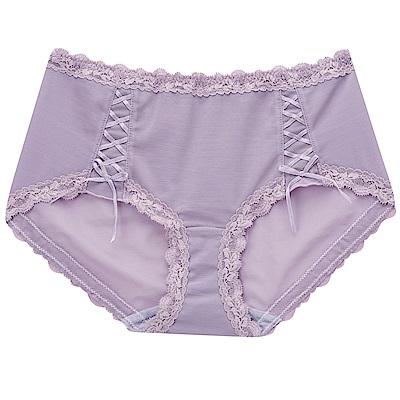 摩奇X-美麗系列 M-LL 中腰平口內褲(紫)修飾包臀-透氣蕾絲-無痕