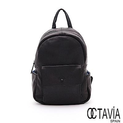 OCTAVIA8 真皮 -  生活家  小羊皮基本款後背包 - 每日黑