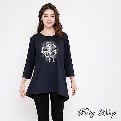 Betty Boop貝蒂 圓領膠印後開衩長版上衣(共兩色)