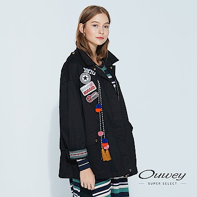 OUWEY歐薇 時尚文字貼布刺繡外套(黑)