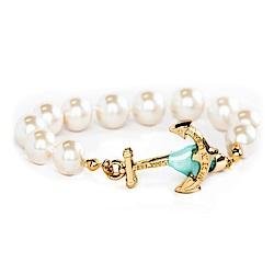 Kiel James Patrick 美國手工船錨珍珠 單圈手鍊-水藍緞帶
