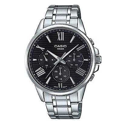 CASIO羅馬時尚橫條紋三針三眼不鏽鋼腕錶(MTP-EX300D-1)黑/43.8mm
