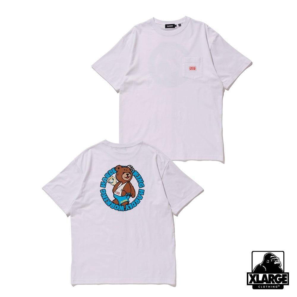 XLARGE S/S HARDLY WORKING POCKET TEE短袖T恤-白