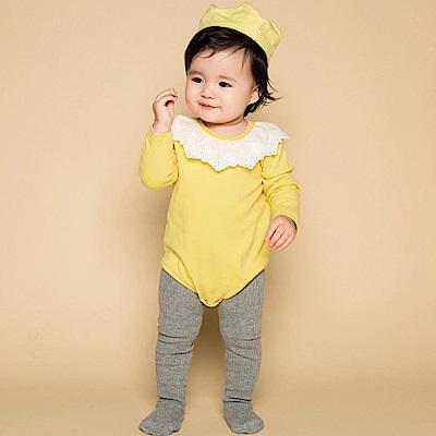 Baby unicorn 黃色鏤空花邊翻領長袖包屁衣連身衣