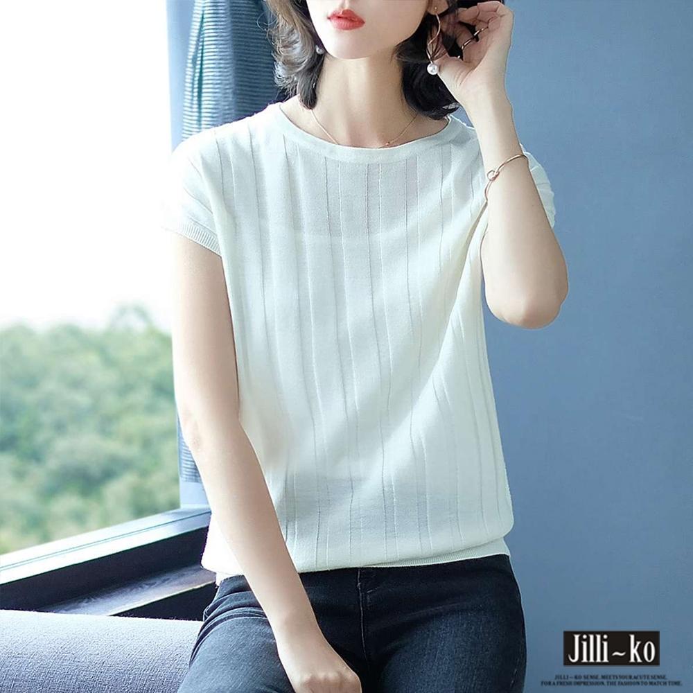 JILLI-KO 基本款坑條百搭冰絲針織衫- 粉紅/黑/白