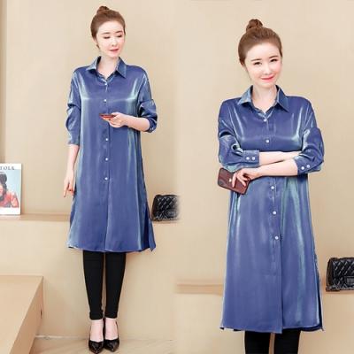 【韓國K.W.】(預購)最新上架寬鬆時尚襯衫洋裝-2色