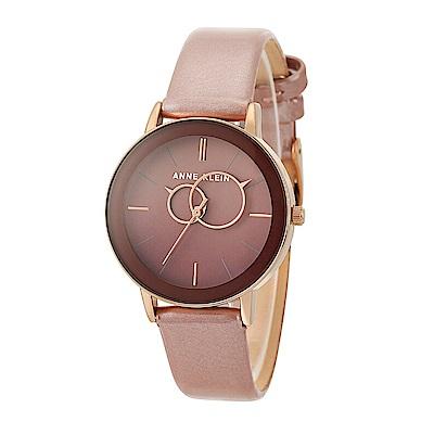 Anne Klein 閃耀紅酒戀愛光 漸層亮漆真皮腕錶-漸層酒紅色x34mm