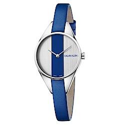 CALVIN KLEIN 叛逆系列藍白撞色款女錶-29mm