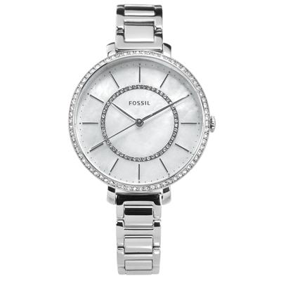 FOSSIL 晶鑽鑲圈 珍珠母貝 礦石強化玻璃 不鏽鋼手錶-銀白色/36mm