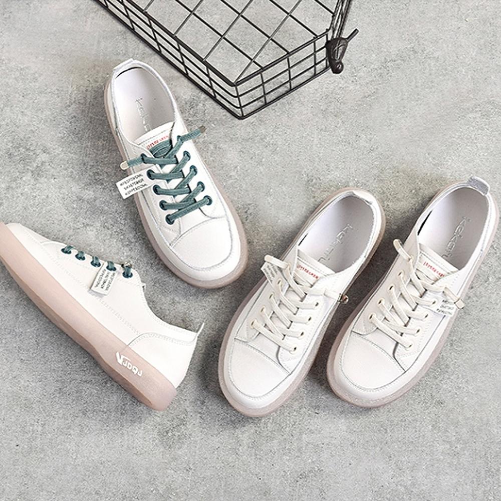 LN 現+預 牛筋軟底小白鞋-3色 (白綠)
