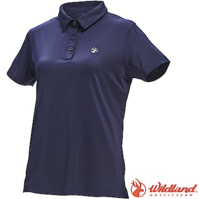 Wildland 荒野 0A71659-72深藍色 女彈性POLO抗UV條紋衣