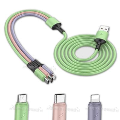 Welly Type-C/Lightning/Micro USB 三合一分色接頭 液態矽膠充電線