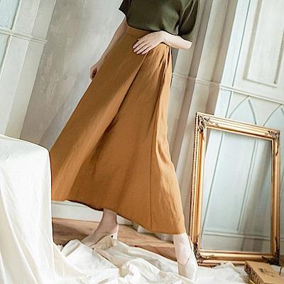 半襟反褶鬆緊腰圍素面長裙-OB大尺碼