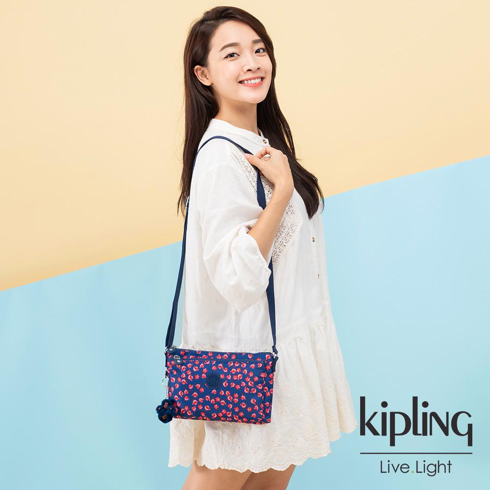 Kipling 古典茜紅小花雙內袋斜背小包-MIKAELA