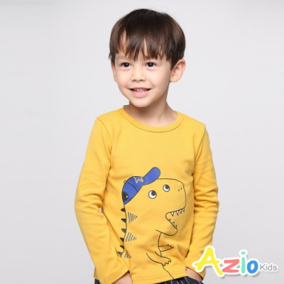 Azio Kids 男童 上衣 戴帽子恐龍長袖上衣(黃)