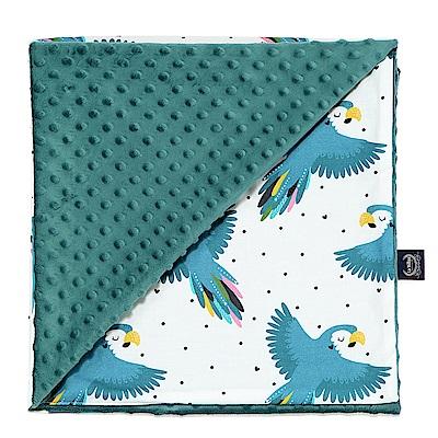 La Millou單面巧柔豆豆毯(加大款)-心心鸚鵡(藍綠愛琴海)