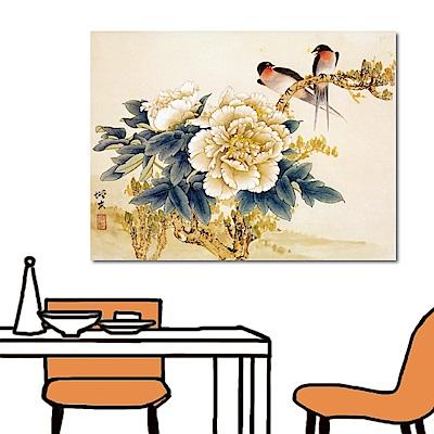 橙品油畫布 單聯式 無框畫中國風掛畫-燕與牡丹40x30cm