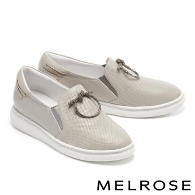 休閒鞋 MELROSE 質感時尚鑽飾全真皮厚底休閒鞋-米
